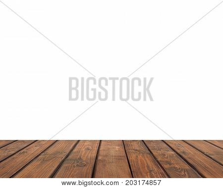 Empty countertop isolated on a white background. Texture wooden boards; wooden flooring. Empty space for Your subject.