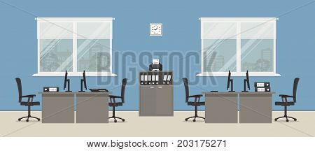 Office room in a blue color. There are gray tables, black chairs, cabinet for documents, a printer and other objects in the picture. Vector flat illustration.