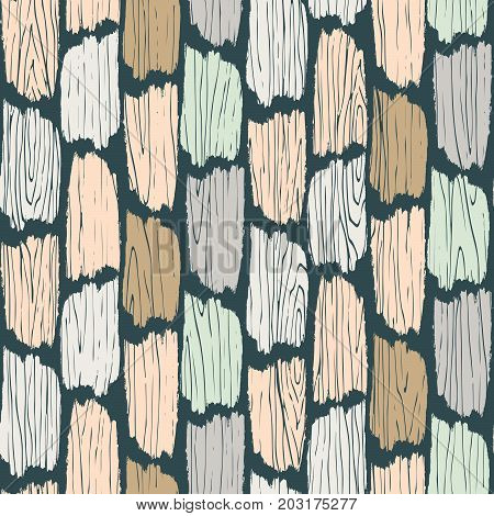 Wood planks seamless pattern. Tree bark texture vector background. Colored planks parquet ornament flooring.