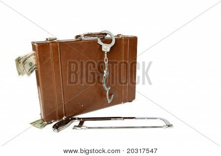 Briefcase Handcuffs And Saw