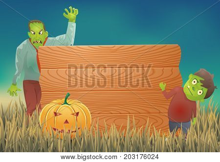 Halloween background with zombie and wooden sign.Vector illustration.