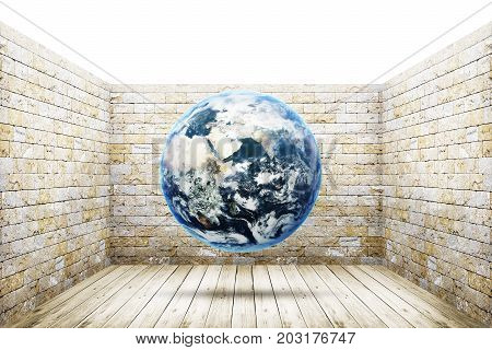 World earth globe into old room background