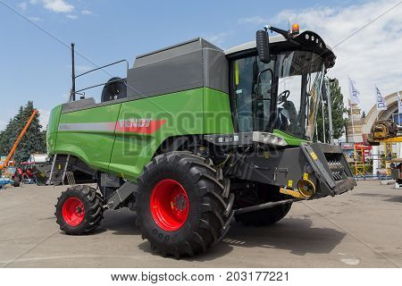 Ukraine Kiev - June 11 2017: Agricultural combine at the exhibition International agro-industrial exhibition