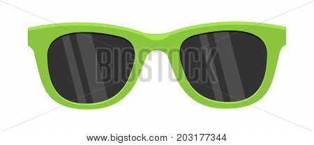 Green sunglasses isolated on the white background. Hipster coolr summer glasses. Sunglasses icon. Women's green sunglasses. Vector illustration in flat