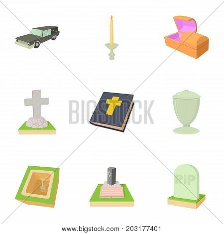 Funeral icons set. Cartoon set of 9 funeral vector icons for web isolated on white background
