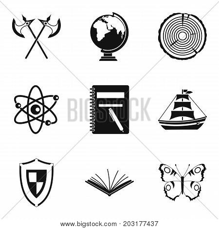 Discovery of land icons set. Simple set of 9 discovery of land icons for web isolated on white background