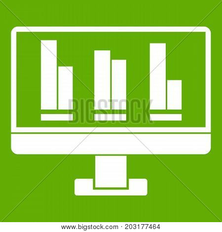 Business graph at computer screen icon white isolated on green background. Vector illustration