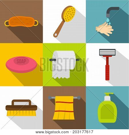 Bathroom things icon set. Flat style set of 9 bathroom things vector icons for web design