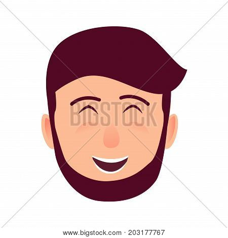 Laughing young man rosy face icon. Bearded, brown-haired widely smiling with closed eyes flat vector isolated on white background. Hipster cartoon emotive portrait for user avatar illustration