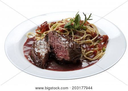 Filet mignon with pasta with white background