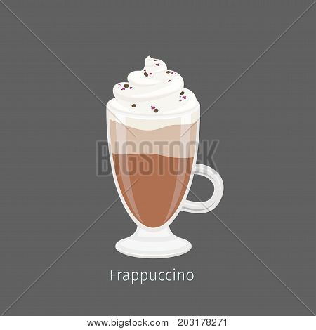 Irish glass mug with frapuccino flat vector. Cold invigorating drink with caffeine. Chilled coffee with whipped cream and chocolate sprinkle on creamy foam illustration for coffee house and cafe menu
