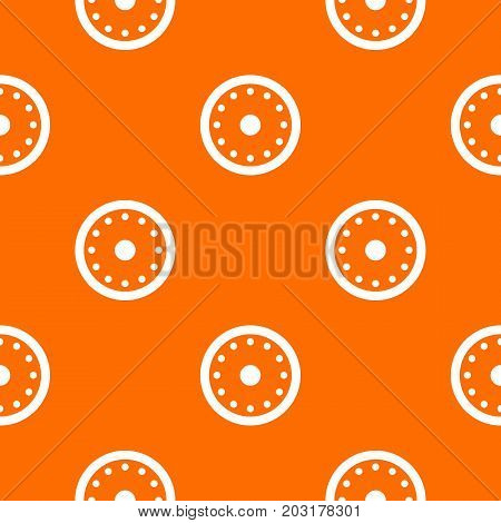 Round military shield pattern repeat seamless in orange color for any design. Vector geometric illustration