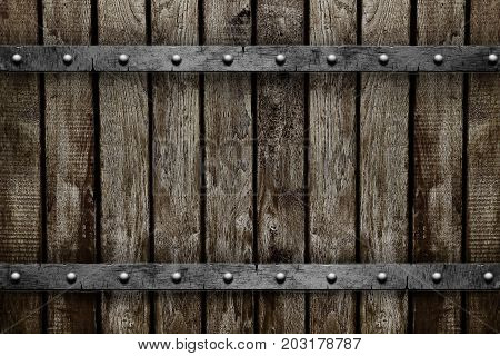 Wood with metal and nails texture background
