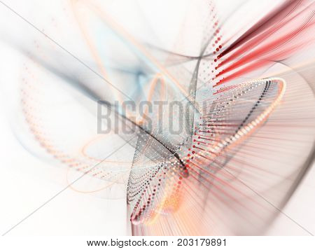 Abstract red and white background. Fractal graphics series. Three-dimensional composition of dots, waves and rays of light.