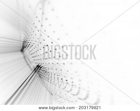 Abstract background. Fractal graphics series. Three-dimensional composition of dots, waves and rays of light. White texture.
