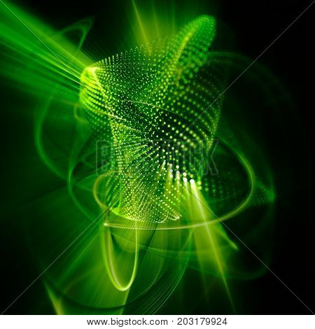 Abstract green and black background. Fractal graphics series. Three-dimensional composition of dots, waves and rays of light.