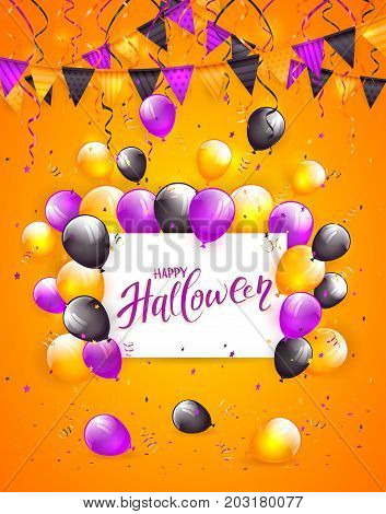 White card with lettering Happy Halloween on orange background with multicolored balloons, pennants, streamers and confetti, illustration.