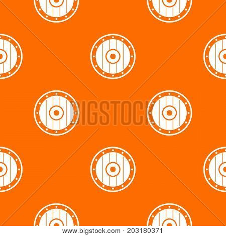 Round army shield pattern repeat seamless in orange color for any design. Vector geometric illustration