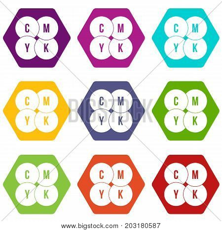 CMYK circles icon set many color hexahedron isolated on white vector illustration