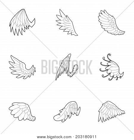 Wings of angel icons set. Outline set of 9 wings of angel vector icons for web isolated on white background
