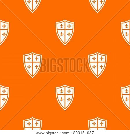 Royal shield pattern repeat seamless in orange color for any design. Vector geometric illustration