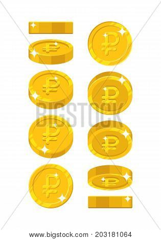 Gold ruble views cartoon style isolated. The gold ruble is at different angles around its axis for designers and illustrators. Rotation of a gold coin in the form of a vector illustration