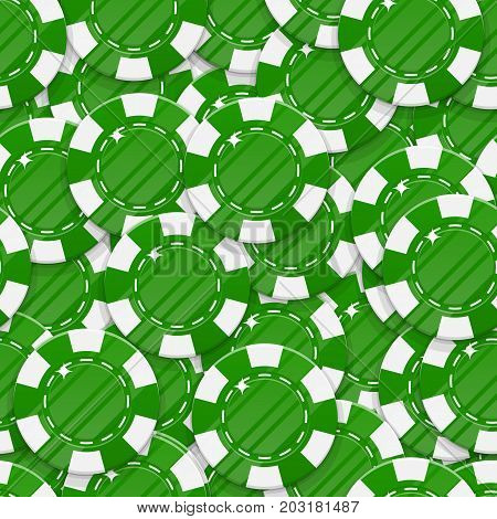 Green casino chips seamless pattern. Background of casino green chips as a pattern for designers and illustrators. Backdrop of green bets in the form of vector illustration