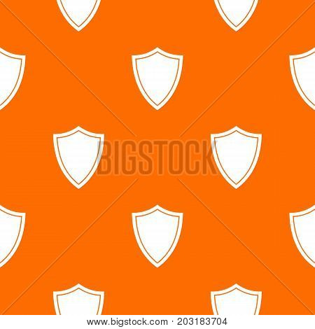 Shield for war pattern repeat seamless in orange color for any design. Vector geometric illustration