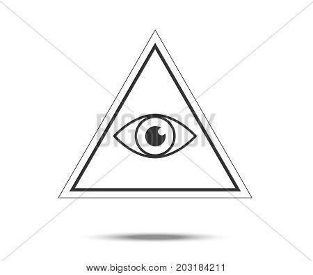 Masonic Symbol. All Seeing Eye Inside Pyramid Triangle Icon