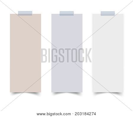 Set of vertical paper card banners with paper scotch tape. Realistic vector notepaper with torn edges isolated on white background. Paper sheets with shadow.