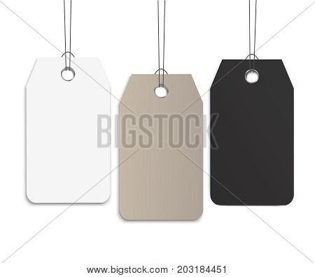 Blank dangling paper label set or cloth tag set. Blank labels template price tags set realistic vector