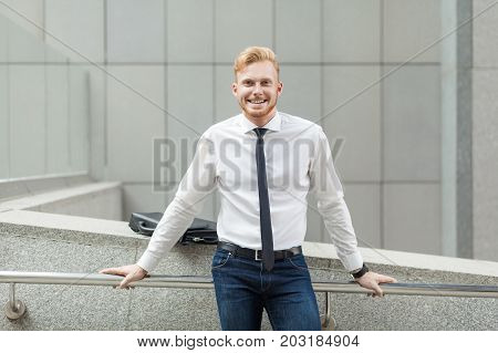 Happiness Young Adult Success Businessman, Looking At Camera And Toothy Smile.