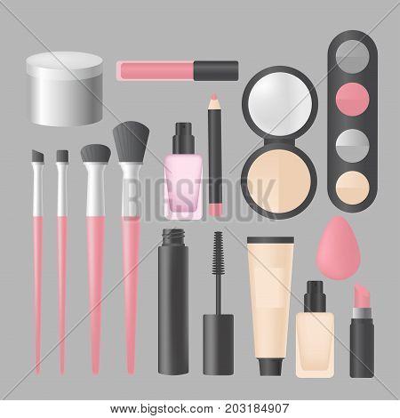 Realistic makeup and cosmetics products and tools. Lipstic, brushes, eyeshadow mascara, powder and mascara