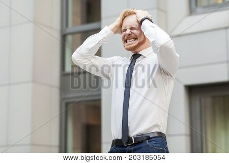 Headache. Businessman Have A Problem Or Stress.