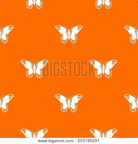 Admiral butterfly pattern repeat seamless in orange color for any design. Vector geometric illustration