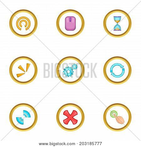 Different cursor icons set. Cartoon set of 9 different cursor vector icons for web isolated on white background