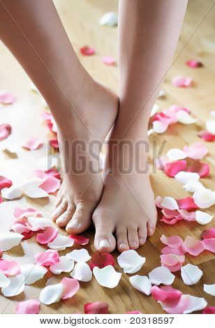 feet and rose-petals poster
