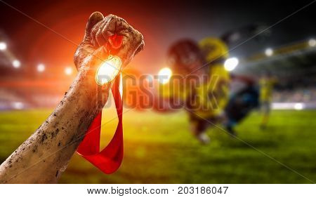 Celebrating great victory. Mixed media