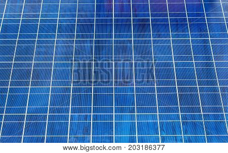 Closeup of solar panel detail. Blue color