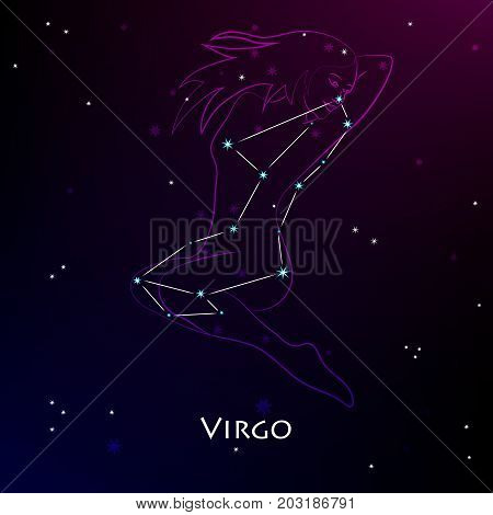 Virgo Zodiac Sign and the Constellation against the backdrop of a dark starry sky. Vector illustration on the black background
