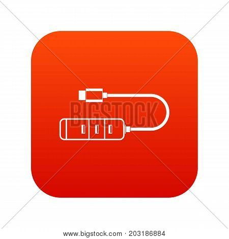 USB adapter connectors icon digital red for any design isolated on white vector illustration