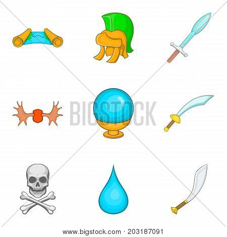 Weapon icons set. Cartoon set of 9 weapon vector icons for web isolated on white background