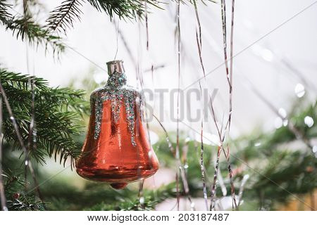 Christmas tree with ornaments. Traditional antique decor