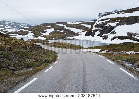 Bjorgavegen - mountain road runs from Aurlandsvangen to Laerdalsoyri, Norway. Norwegian Tourist Route Aurlandsfjellet