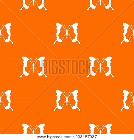 Swallowtail butterfly pattern repeat seamless in orange color for any design. Vector geometric illustration