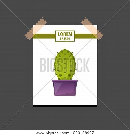 Vector illustration with cartoon isolated cactus icon. Vector house plant in flowerpot home interior design. Desert mexican green succulent. Home flowers cartoon indoor objects. Travel to Mexico icon