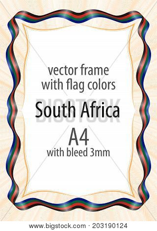 Frame and border of ribbon with the colors of the South Sudan flag