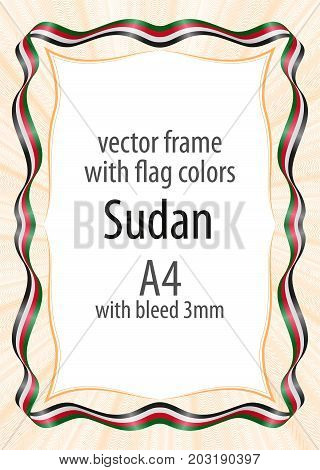 Frame and border of ribbon with the colors of the Sudan flag