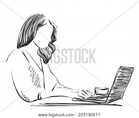 Sketch of designer working on lap top using pen tablet, Hand drawn vector illustration