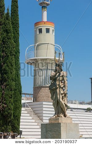 Neptuno Sculpture In The Park Of The Industry Of Spain In Barcelona Catalonia Spain